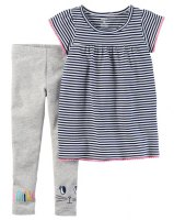 DUO DECALZA Y REMERA RAYADA TALLE 9 MESES,12 MESES, 18 MESES marca CARTERS